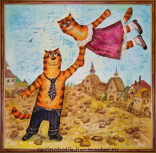 Фантазийные сюжеты ручной работы. Ярмарка Мастеров - ручная работа. Купить Прогулка ( по мотивам Шагала). Handmade. Кот