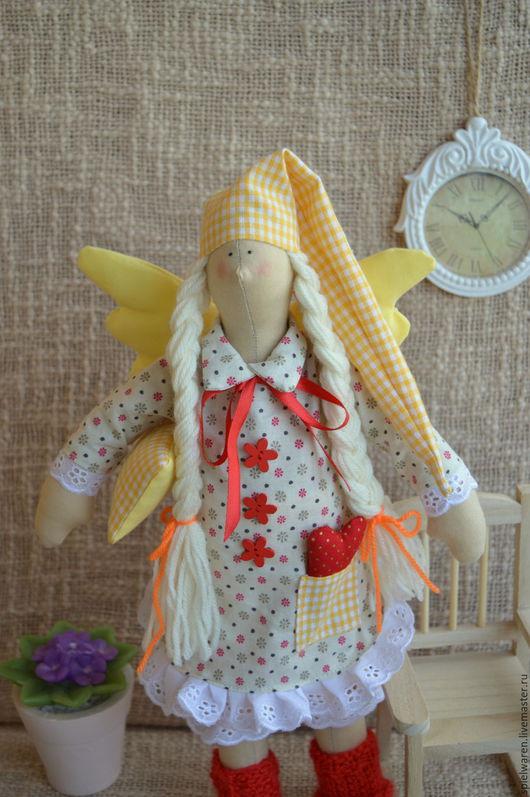 Куклы Тильды ручной работы. Ярмарка Мастеров - ручная работа. Купить Сонный ангелочек Тильда. Handmade. Ярко-красный, тильда