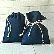 Мешочки, лен темно-синий, 10х12 см.