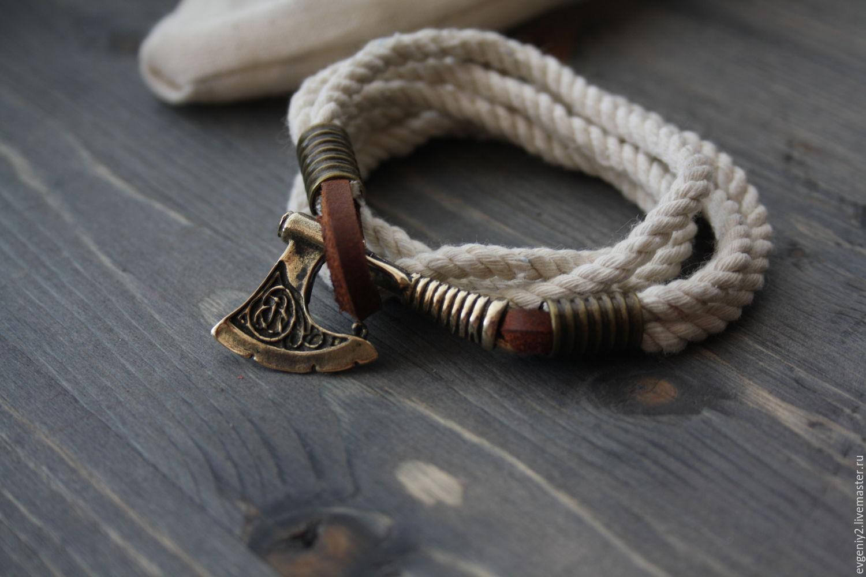 Браслет с топором ,хлопковый браслет ,мужской браслет ,браслет Викинга
