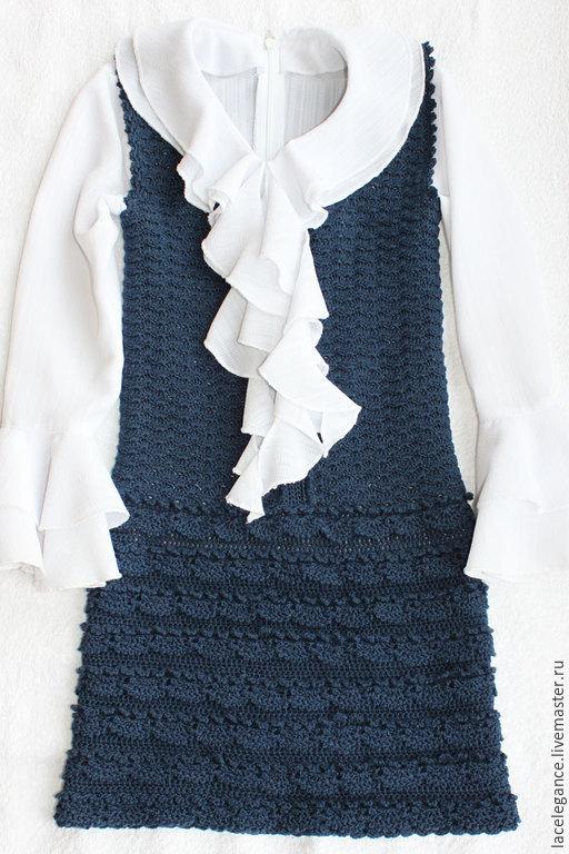 Одежда для девочек, ручной работы. Ярмарка Мастеров - ручная работа. Купить Детский сарафан. Handmade. Тёмно-синий, хлопковое платье