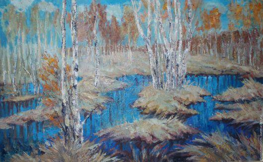 """Пейзаж ручной работы. Ярмарка Мастеров - ручная работа. Купить """"Весенний разлив"""". Handmade. Голубой, картина на холсте, масло"""