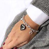 Украшения handmade. Livemaster - original item Graphite Heart bracelet on a chain with pendants. Handmade.