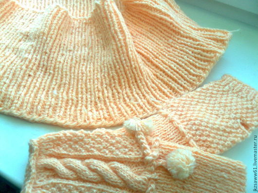 Шарфы и шарфики ручной работы. Ярмарка Мастеров - ручная работа. Купить шарф снуд и митенки Розовый жемчуг комплект. Handmade.