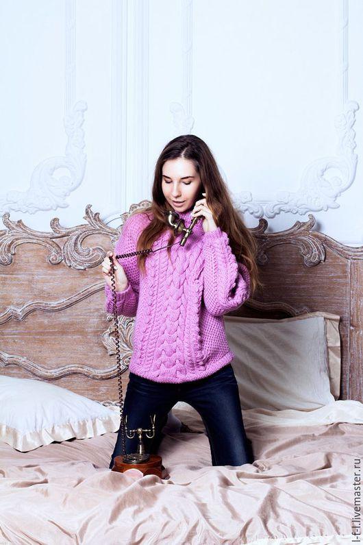 Кофты и свитера ручной работы. Ярмарка Мастеров - ручная работа. Купить Вязаный свитер «Королевская коса». Handmade. Розовый