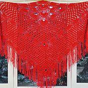Аксессуары handmade. Livemaster - original item Shawl Zarina 220x160x160 crocheted (R-R excluding tassels). Handmade.