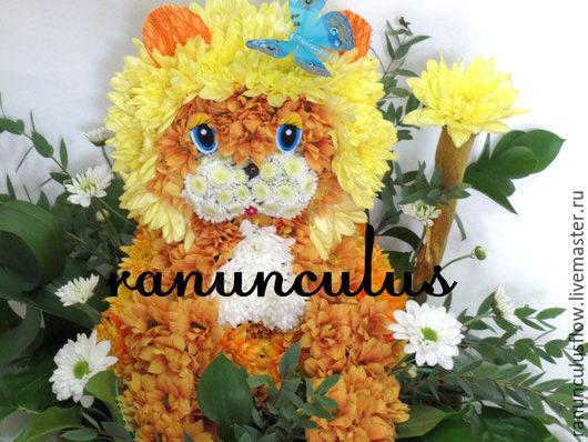 Букеты ручной работы. Ярмарка Мастеров - ручная работа. Купить Лев из цветов. Handmade. Комбинированный, лев, игрушки из цветов