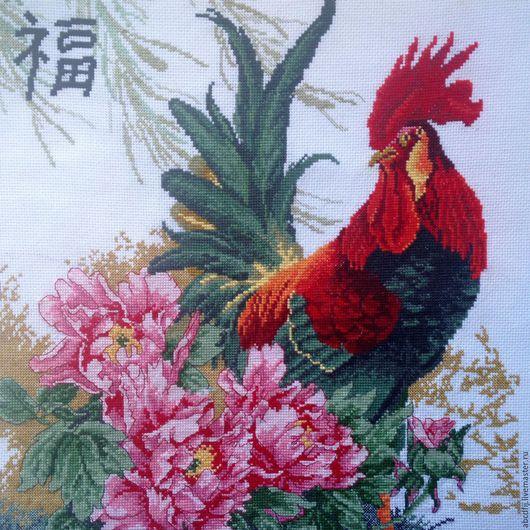 Животные ручной работы. Ярмарка Мастеров - ручная работа. Купить Вышивка крестом Вышитая картина Красный петух гунби. Handmade.