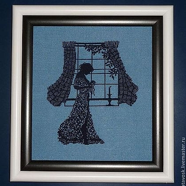 Картины и панно ручной работы. Ярмарка Мастеров - ручная работа Вышивка крестом Девушка у окна. Handmade.