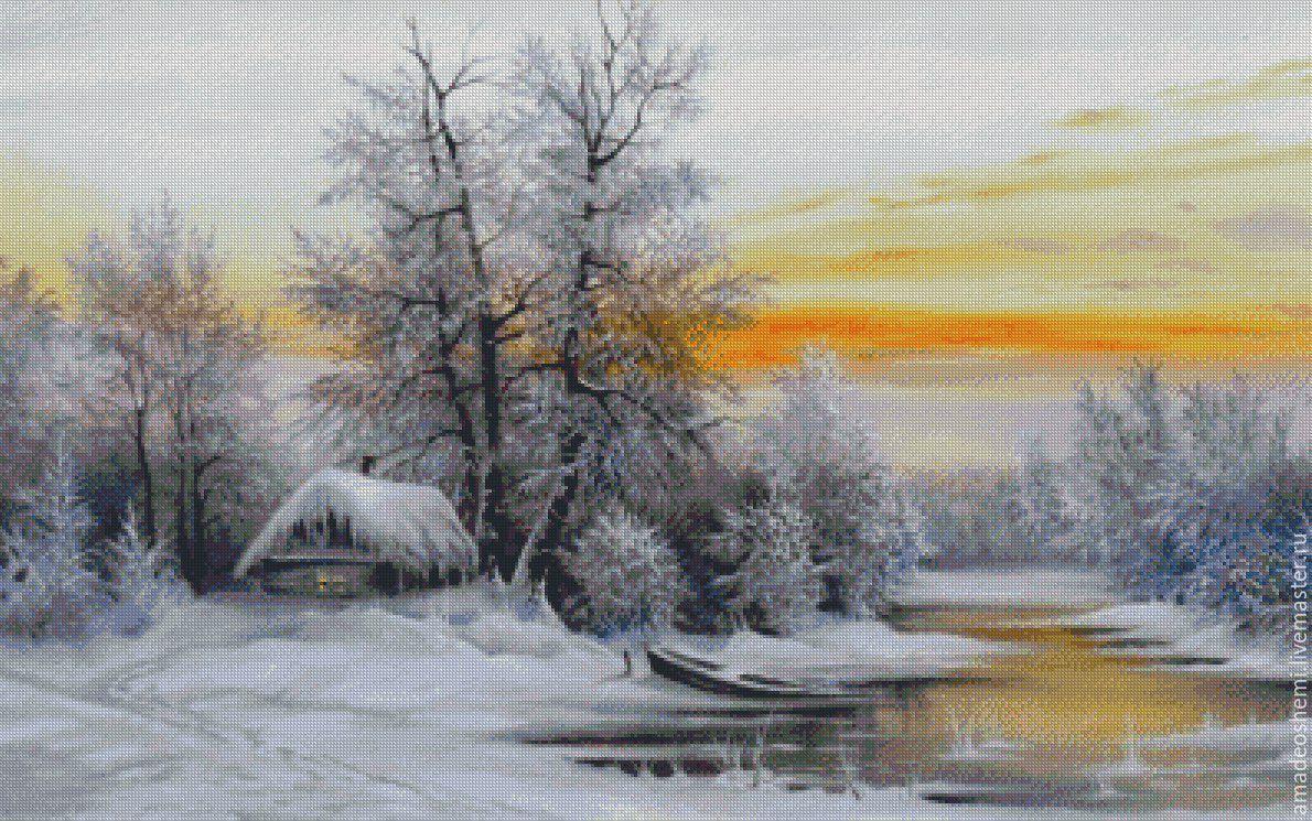 Зимняя картина вышивка крестом