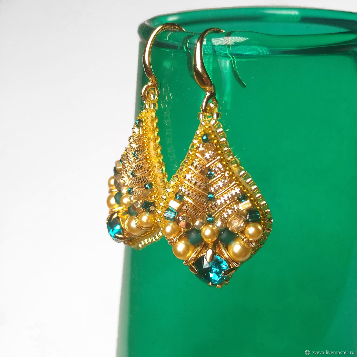 Embroidered Candied earrings, beaded and crystal earrings, autumn earrings, Earrings, Smolensk,  Фото №1