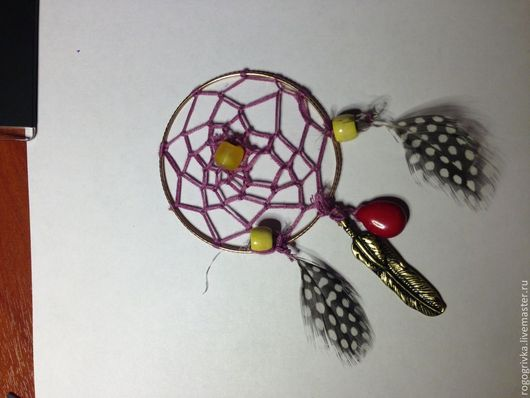 Миниатюрные модели ручной работы. Ярмарка Мастеров - ручная работа. Купить Ловец снов. Handmade. Разноцветный, перья, бусины деревянные