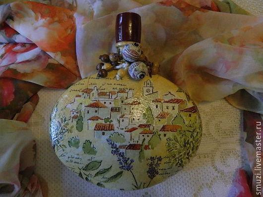 """Графины, кувшины ручной работы. Ярмарка Мастеров - ручная работа. Купить """"O SOLE MIO..."""" Графин на тему Италии (пустая бутылка). Handmade."""