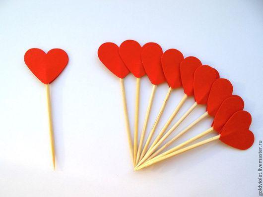 """Шпажки """"Сердечки"""" для капкейков (миникексов), канапе. Цвет - красный."""
