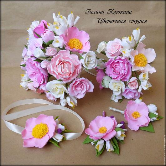 Свадебные цветы ручной работы. Ярмарка Мастеров - ручная работа. Купить Свадебный комплект: букет невесты, букет-дублер, бутоньерки. Handmade.