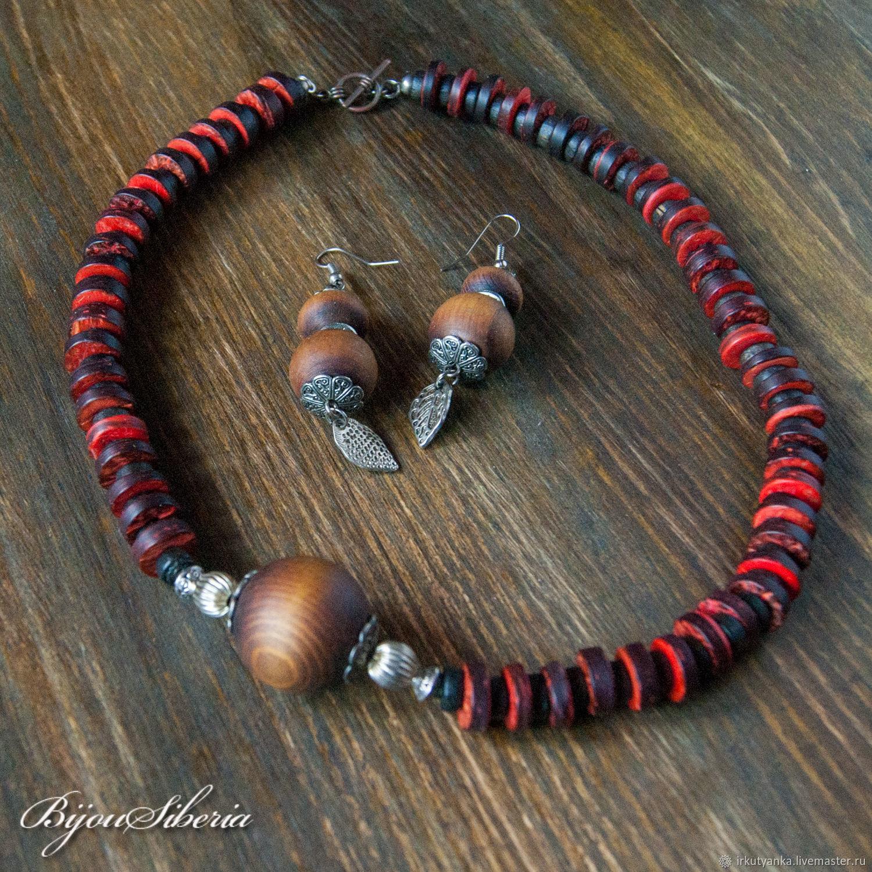 Asymmetric coconut and wood beads, Necklace, Irkutsk,  Фото №1