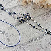 Аксессуары handmade. Livemaster - original item Chains for glasses: Blueberries made of lapis lazuli. Handmade.