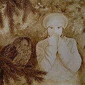 """Картины и панно ручной работы. Ярмарка Мастеров - ручная работа Кофейный рисунок """"Дочь Зимы"""". Handmade."""