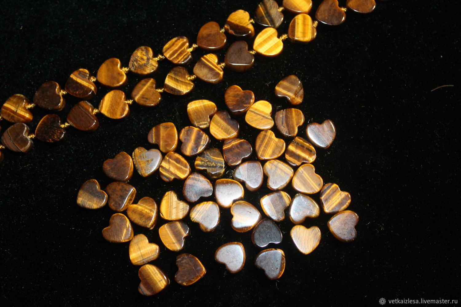 Notched bead-heart of the tiger's eye, 10h10h4,5 mm (Natur. stone)