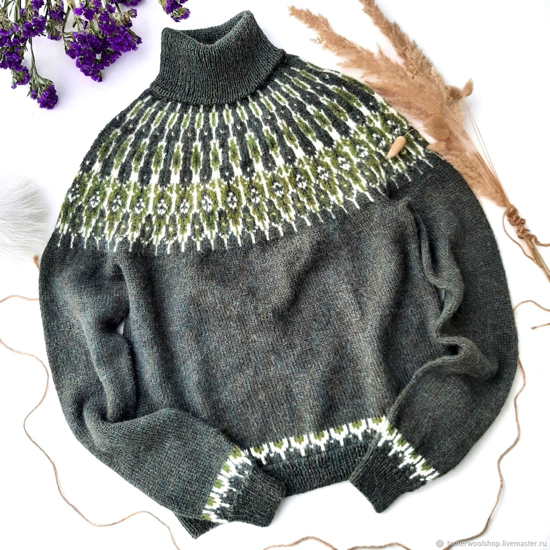 Исландский свитер Лопапейса из альпака, вязанный свитер Лопапейса, Свитеры, Москва,  Фото №1