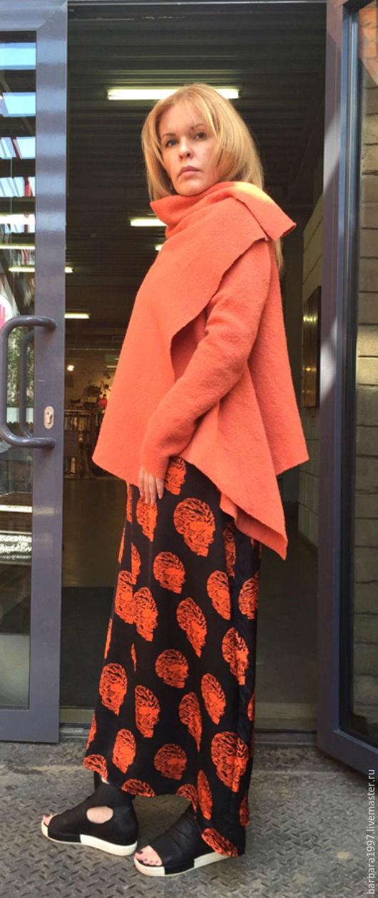 Верхняя одежда ручной работы. Ярмарка Мастеров - ручная работа. Купить Легкое пальто-кардиган СOZY CORAL. Handmade. Коралловый