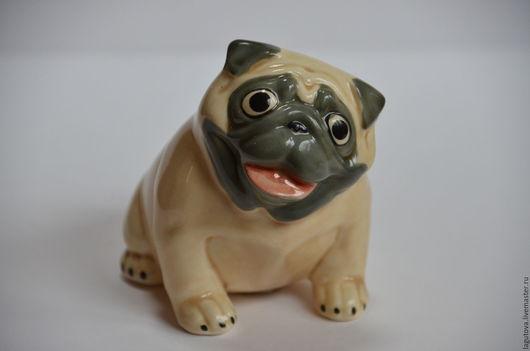 Винтажные предметы интерьера. Ярмарка Мастеров - ручная работа. Купить Статуэтка собаки. Мопс фарфор винтаж 80-е. Handmade.