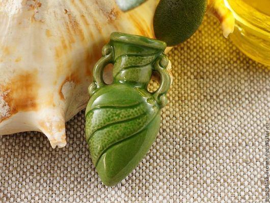 Для украшений ручной работы. Ярмарка Мастеров - ручная работа. Купить Аромакулон керамический №3 (зеленый). Handmade. Аромакулон, ароматерапия