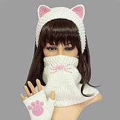 Аксессуары handmade. Livemaster - original item Headband with Cat ears Snood with Cat face Mittens with paws. Handmade.