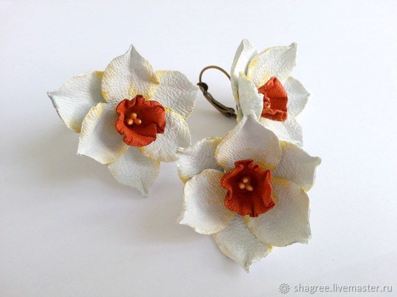 Ring and earrings from leather Daffodils, Jewelry Sets, Moscow,  Фото №1