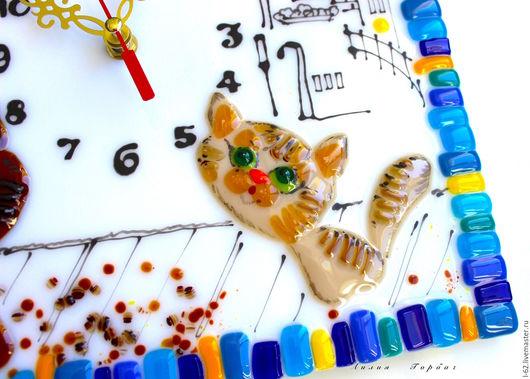 Часы для дома ручной работы. Ярмарка Мастеров - ручная работа. Купить часы из стекла, фьюзинг   Томный вечер. Handmade. Синий