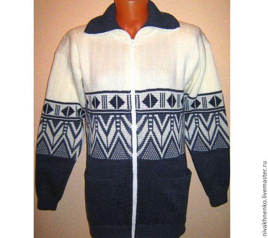 Кофты и свитера ручной работы. Ярмарка Мастеров - ручная работа. Купить Вязаный жакет на молнии Скандинавия. Handmade. Темно-серый