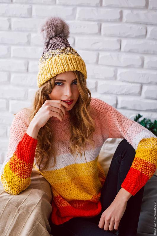 Кофты и свитера ручной работы. Ярмарка Мастеров - ручная работа. Купить цветной свитер. Handmade. Лимонный, свитер женский