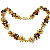 Украшения handmade. Livemaster - original item Amber necklace beads amber Flowers natural stone yellow cognac. Handmade.