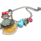 Украшения handmade. Livemaster - original item Large chain necklace coral agate leaf pearl turquoise red. Handmade.