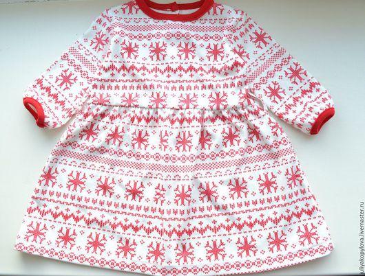 """Одежда для девочек, ручной работы. Ярмарка Мастеров - ручная работа. Купить Трикотажное платье  """"Снежинки"""". Handmade. Однотонный, платье, новогодняя"""