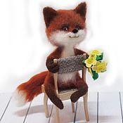 Куклы и игрушки ручной работы. Ярмарка Мастеров - ручная работа Лисенок Лютик с лютиками Интерьерная валяная игрушка. Handmade.