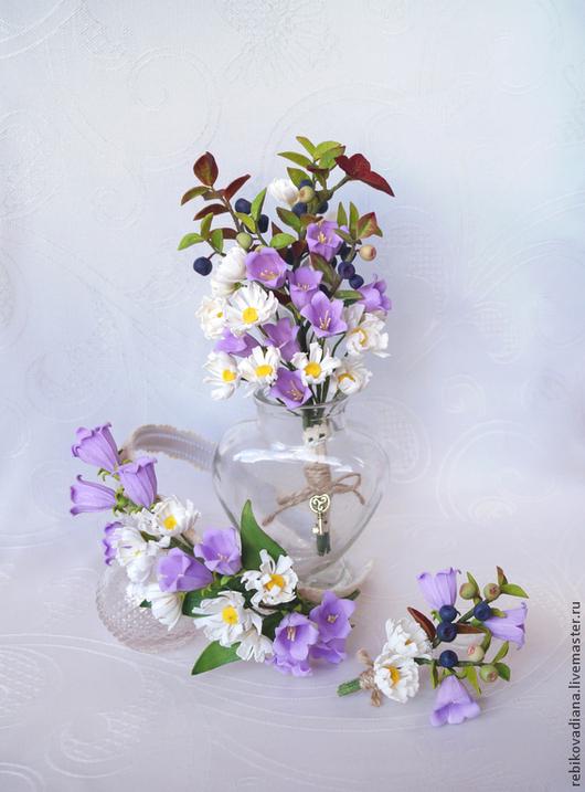 """Свадебные украшения ручной работы. Ярмарка Мастеров - ручная работа. Купить Свадебный набор """"Полевые цветы"""". Handmade. Разноцветный, свадьба"""