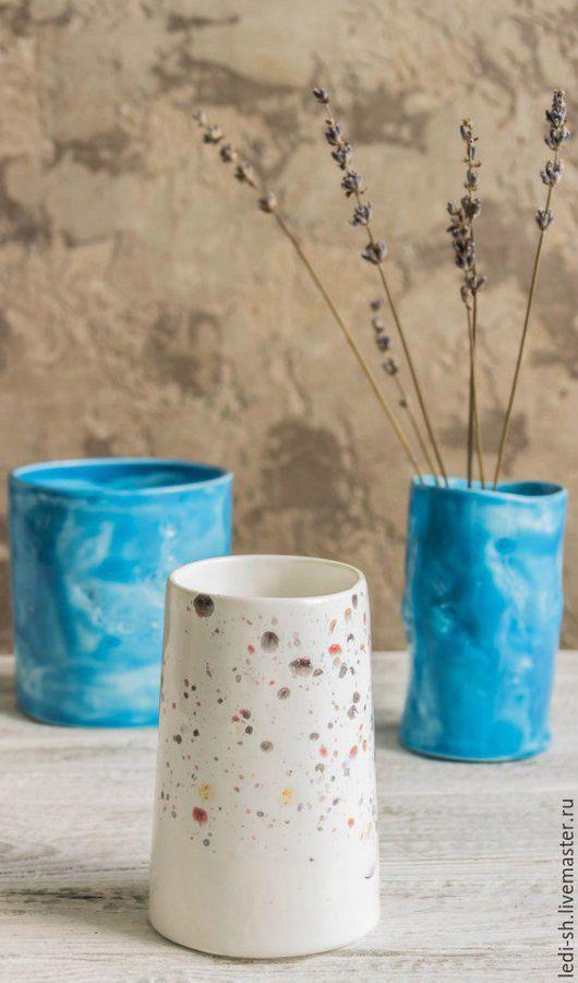 Ванная комната ручной работы. Ярмарка Мастеров - ручная работа. Купить Керамические стаканы-вазы. Handmade. Бирюзовый, небесно-голубой