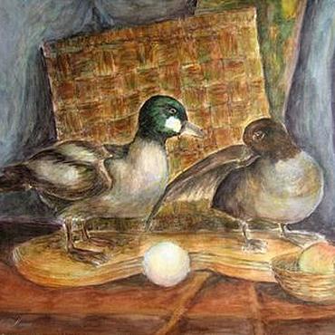Картины и панно ручной работы. Ярмарка Мастеров - ручная работа Картина живопись акварель Уточки. Handmade.