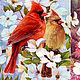 Декупаж и роспись ручной работы. Ярмарка Мастеров - ручная работа. Купить Красные кардиналы (D100673) - рисовая бумага, А4. Handmade.