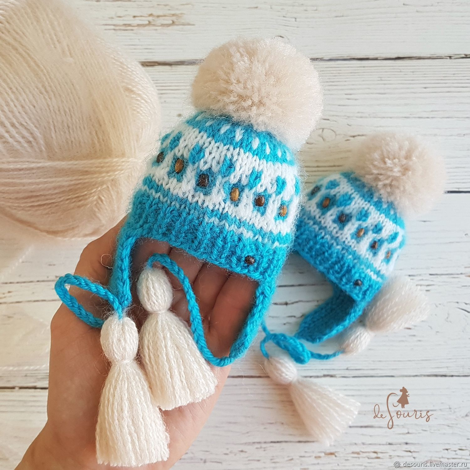 Hat for a doll. Blue and white. The girth of the doll's head 18 - 20 cm, Clothes for dolls, Voronezh,  Фото №1