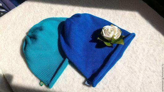 Шапки и шарфы ручной работы. Ярмарка Мастеров - ручная работа. Купить Шапочки из хлопка. Handmade. Синий, шапка вязаная