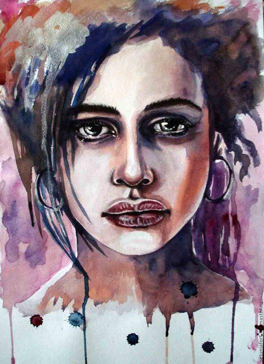 Люди, ручной работы. Ярмарка Мастеров - ручная работа. Купить Акварельная картина -портрет девушки. Handmade. Комбинированный, картина для интерьера