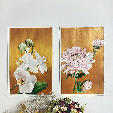 Картины и панно ручной работы. Ярмарка Мастеров - ручная работа Нежные цветы, золото, картина акрил/акварель. Handmade.