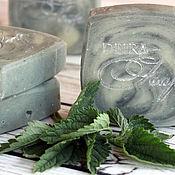 Косметика ручной работы. Ярмарка Мастеров - ручная работа Ланолиновое мыло-шампунь на отваре крапивы с голубой глиной и шелком. Handmade.