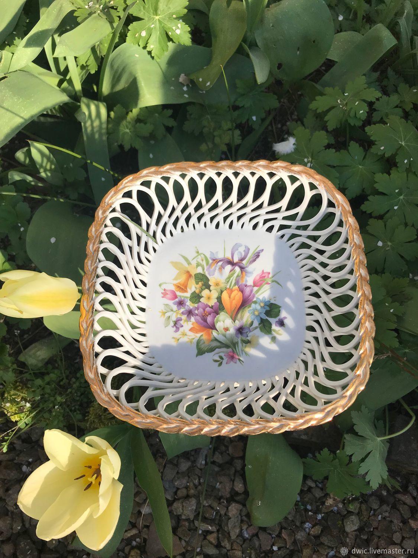 """Фарфоровая сухарница, конфетница """"Весенние цветы """", Румыния, Vintage plates, Arnhem,  Фото №1"""