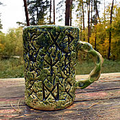 Посуда handmade. Livemaster - original item Futhark - ceramic carved mug. Handmade.