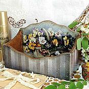 """Для дома и интерьера ручной работы. Ярмарка Мастеров - ручная работа дамский короб """"Анютины глазки"""". Handmade."""