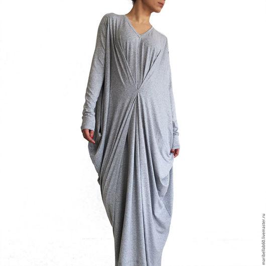 Платья ручной работы. Ярмарка Мастеров - ручная работа. Купить SUNDAY FALL Платье с драпировкой  кафтан с длинными рукавами. Handmade.