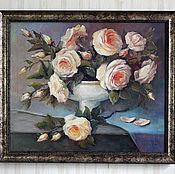 """Картины и панно ручной работы. Ярмарка Мастеров - ручная работа Картина маслом """"Снежные розы"""". Handmade."""